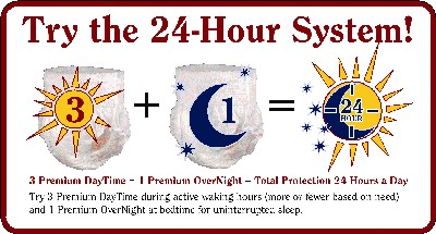 24 hour protection system for Tranquility Absorbent, disposable underwear