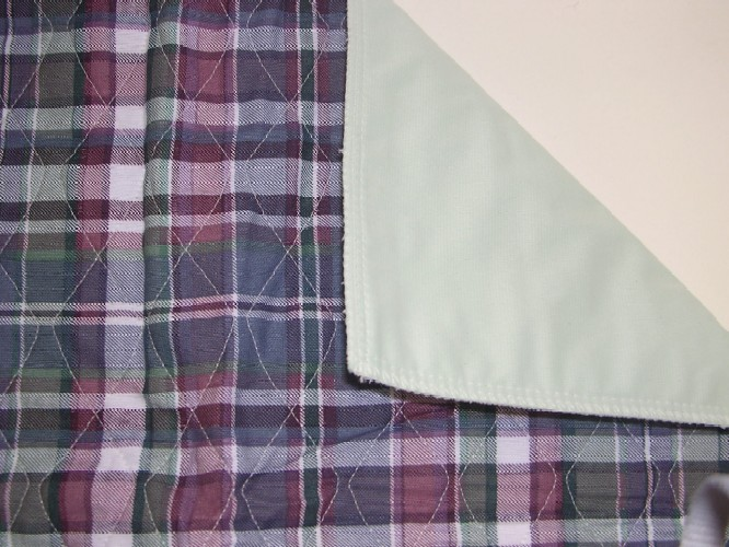 Quilted Plaid Bed Pad for Incontinence